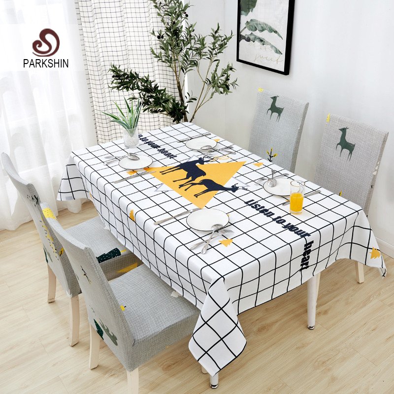 Parkshin Modern Cartoon Deer Tablecloth Home Kitchen Rectangle Decorative Table Cloths Party Banquet Dining Table Cover 4 Size-in Tablecloths from Home & Garden