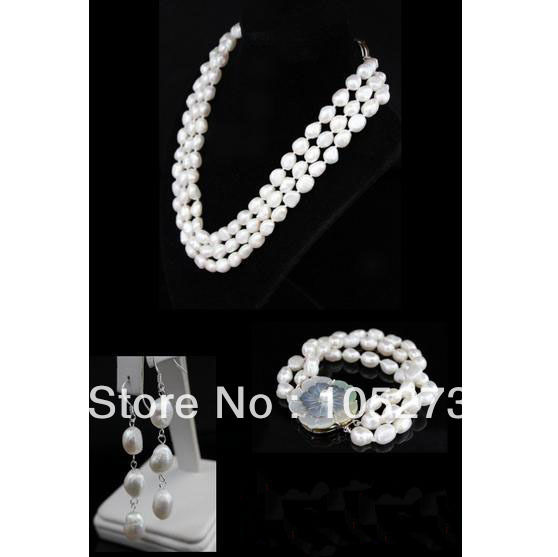 New Arriver Pearl Jewelry Set Elegant Real White Rice Baroque Freshwater Pearl Necklace Bracelet Earrings 7-9mm Free Shipping