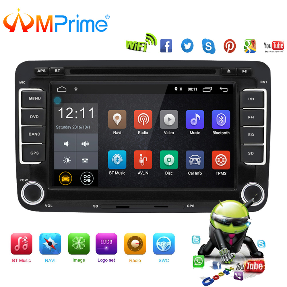 AMPrime Car DVD Multimedia player Android GPS Autoradio 2 Din USB For Volkswagen/VW/ Passat/POLO/GOLF/Skoda/Seat/Leon Radio Wifi funrover android 8 0 two 2 din 9 inch car dvd player stereo for vw volkswagen polo golf skoda octavia seat radio wifi usb no dvd