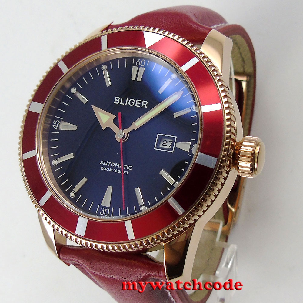 46mm bliger black dial rose golden case red bezel automatic mens wrist watch 115 цена и фото