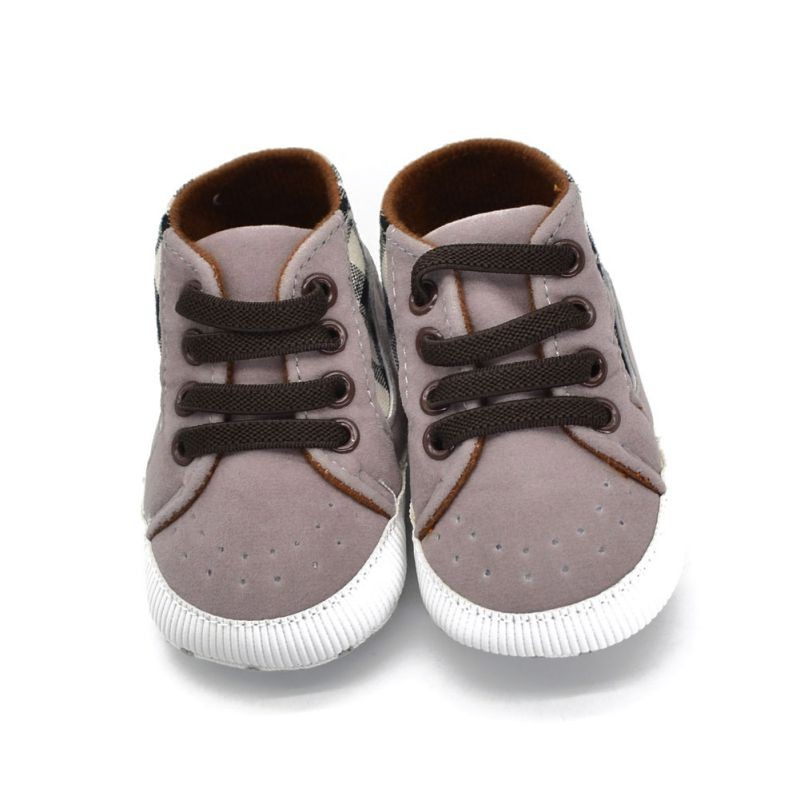 Toddler Infant Baby Boy Shoes Laces Casual Sneaker PU Plaid Soft Sole Crib Shoes 1