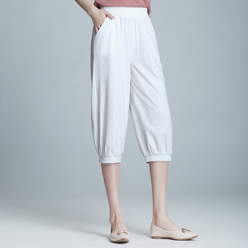 2019 Summer Women's Casual   Pants     Capris   Fashion Cotton Linen Calf-Length   Pants   Elastic Waist Harem   Pants   Trousers Plus Size 4XL