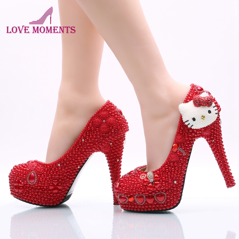 2018 Red Pearl Wedding Shoes with White Hello Kitty Women Shoes Customized Girl Birthday Party Prom Heels Prom Event Pumps white pearl mother of the bride shoes with red bowtie wedding party prom high heels cinderella event shoes bridal pumps