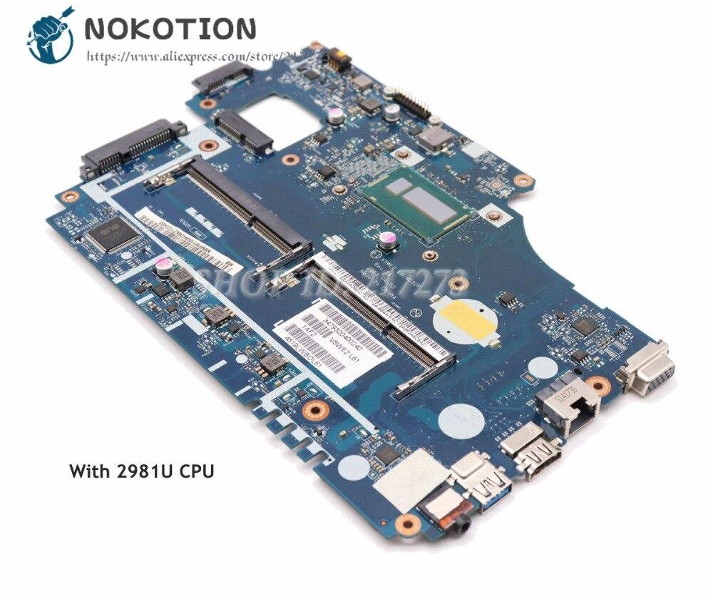 NOKOTION NBMFM1100K V5WE2 LA-9532P For Acer aspire E1-532 E1-572G Laptop Motherboard SR1DX 2981U CPU DDR3L sheli laptop motherboard for acer aspire e1 532 e1 572 e1 572g v5we2 la 9532p nbmfm1100k sr1dx 2981u cpu 100% test ok