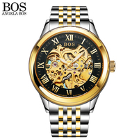 ANGELA BOS Black Gold Stainless Steel Skeleton Luxury Watch Men Automatic Mechanic Sapphire Luminous Skeleton Brand Watches Man