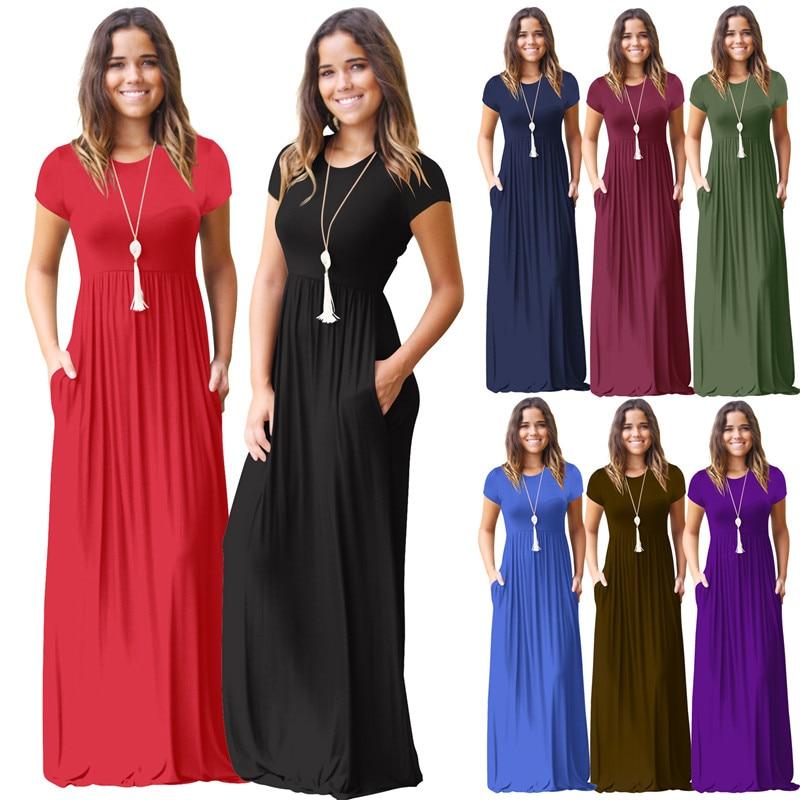 New Arrival 2019 Women Summer Short Sleeve Casual Long Dress Party Black Blue Red Dress Female O-Neck Loose Maxi Dress Vestidos