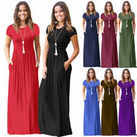 New Arrival 2019 Women Summer Short Sleeve Casual Long Dress Party Black Blue Red Dress Female O-Neck Loose Maxi Dress Vestidos