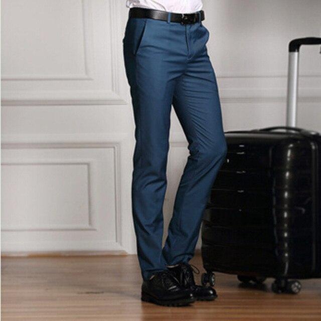 2016 Nueva Boda Formal de Los Hombres Traje de Moda los Pantalones Slim Fit  Marca Casual bc3b116ff470