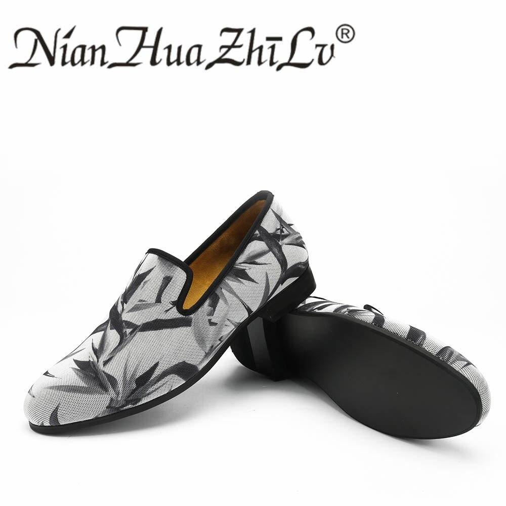 Nieuwe Stijlen mannen Ademende Schoenen Afdrukken Effect Casual Mode Mannen Loafers Slippers Party mannen Flats-in Casual schoenen voor Mannen van Schoenen op  Groep 3