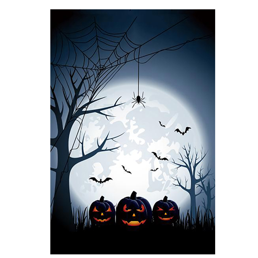 happy halloween day full moon designed with double sided decorative yard flags custom garden flags