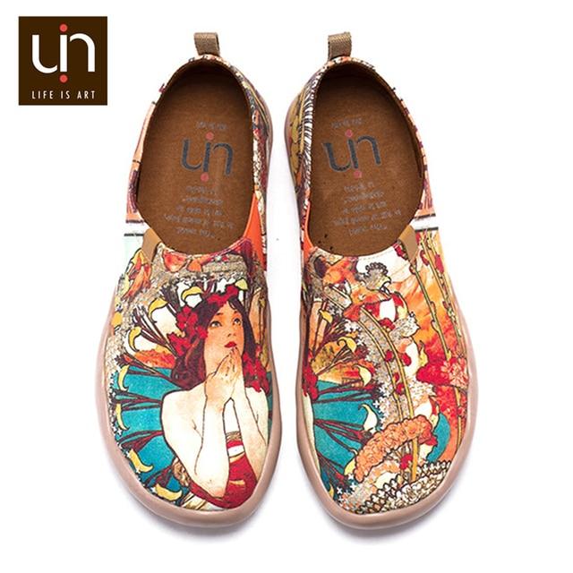 UIN Monacan ילדה עיצוב צבוע מזדמן דירות אישה להחליק על נעלי בד צבוע גבירותיי חיצוני אופנה