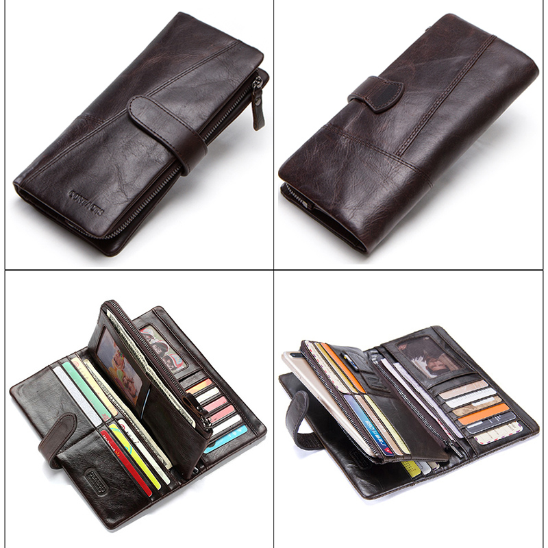 CONTACT'S Genuine Crazy Horse Cowhide Leather Men Wallets Fashion Purse With Card Holder Vintage Long Wallet Clutch Wrist Bag 2