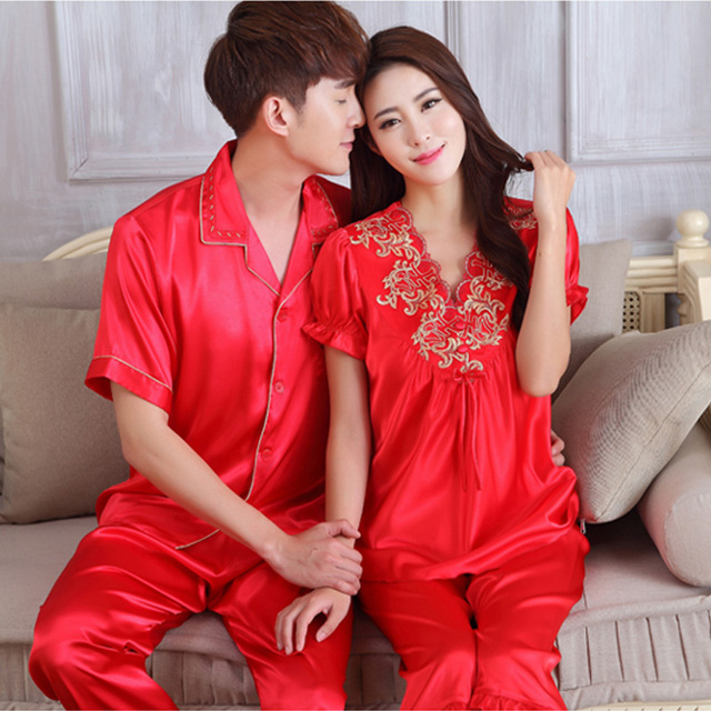 2e82f9184e Pajamas for couples lovers imitated silk embroidery lace flower v-neck short  sleeve nighty