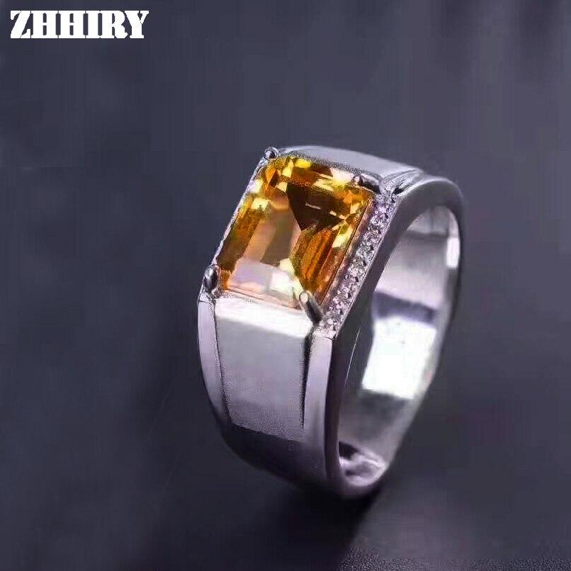 купить Men Rings Genuine Natural Citrine Gem Man Real 925 Sterling Silver Yellow crystal Gemstone Fine Jewelry по цене 4022.05 рублей