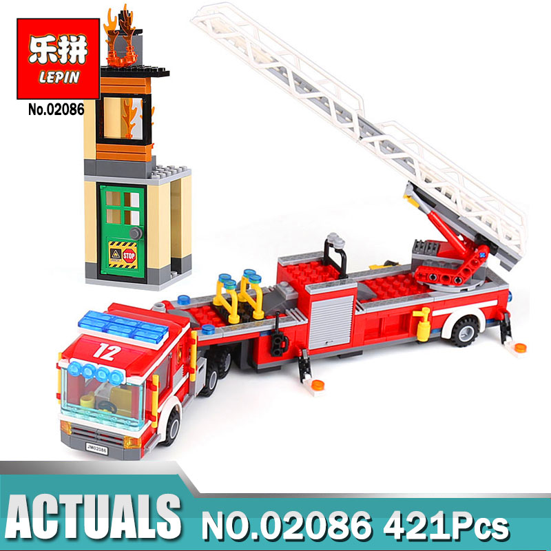 Lepin 02086 421PCS City Series The Fire Engine Lepin Building Blocks Compatible with Legoing 60112 model gift lepin 02012 city deepwater exploration vessel 60095 building blocks policeman toys children compatible with lego gift kid sets