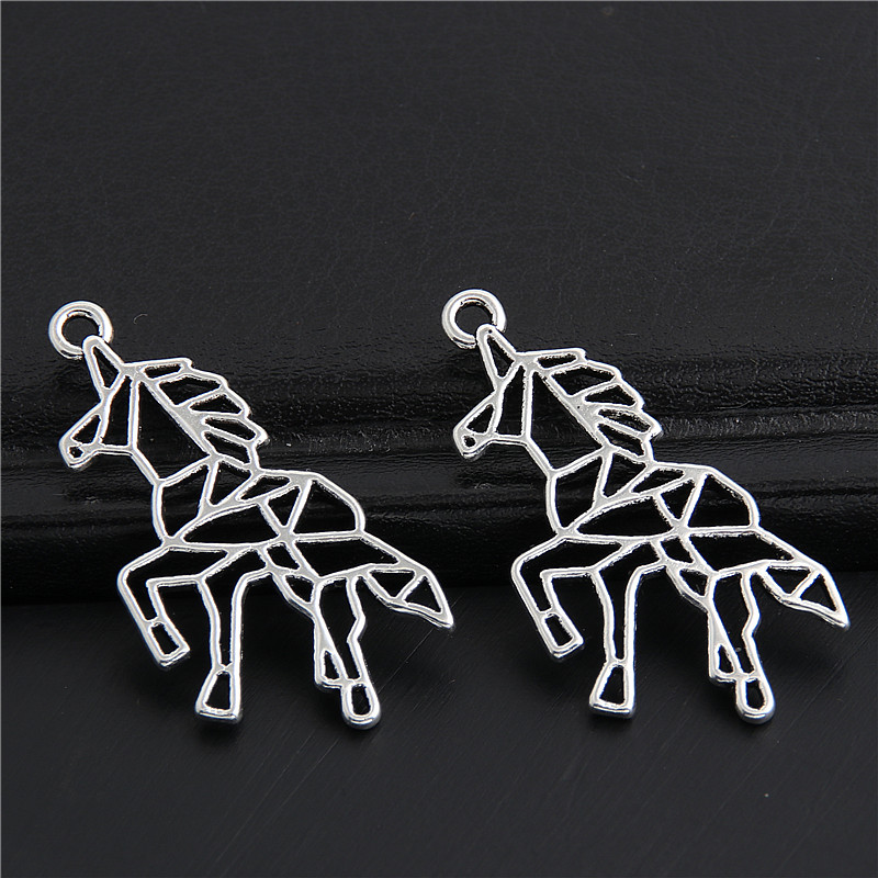 30pcs Antique Sliver Little Hollow Horse Unicorn Charms Animal Pendant Making Diy Jewelry Handmade Accessories 33x16mm A3042