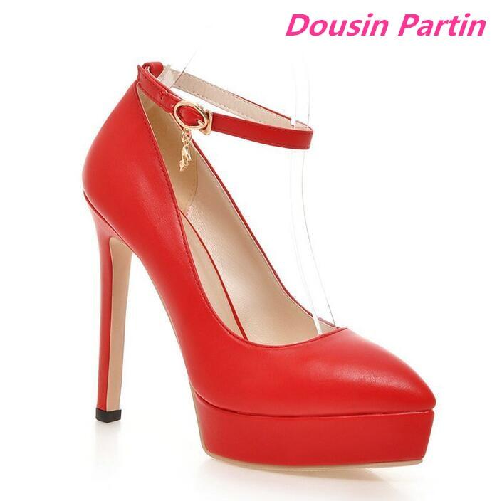 Dousin Partin 2019 Women Pumps Pu Leather Women Shoes Pointed Toe Super Thin High Heel Platform