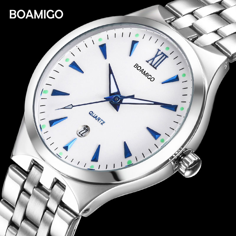 BOAMIGO Top Brand Couple Watches Fashion Casual Men Quartz Watch Full Steel Date Women Lover Couple Wristwatches 30m Waterproof