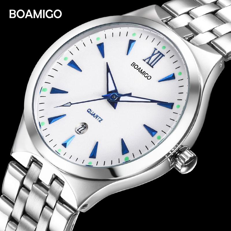 BOAMIGO Top Brand Couple Watches Fashion Casual Men Quartz Watch Full Steel Date Women Lover Couple Wristwatches 30m Waterproof