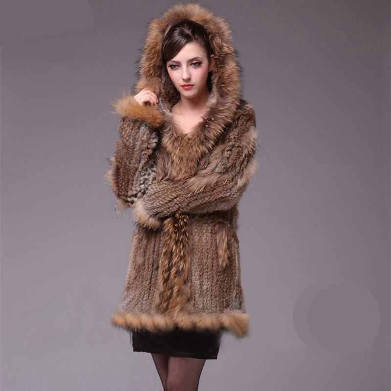 TopFurMall Lady Real Knitted Rabbit Fur Coat Jacket Raccoon Fur Hoody Winter Genuine Women Fur