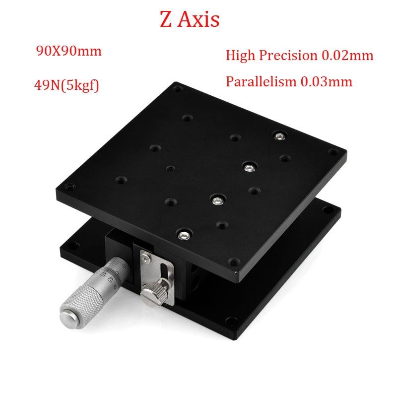 Z axe manuel coupe plate-forme 90x90mm déplacement plate-forme linéaire scène Table parallélisme précision 0.02mm Table coulissante LZ90