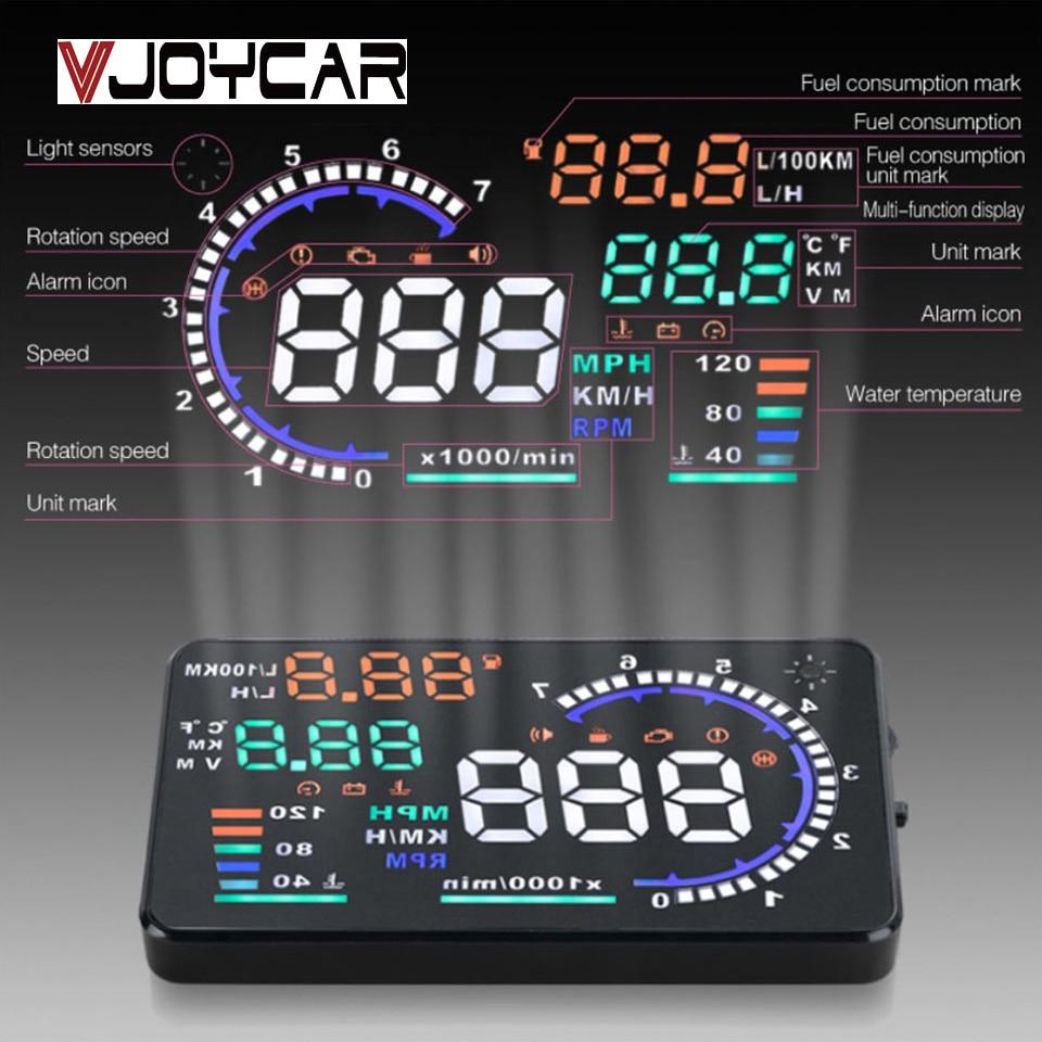 VJOYCAR 5,5 A8 coche HUD cabeza arriba pantalla 4 D2000 OBD2 pantalla LED parabrisas OBD escáner sobre velocidad advertencia coche velocidad proyector