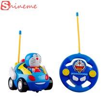 New baby boys girl Doraemon Remote Control Electric toys car kids RC Car High speed Cute cat Cartoon musical light child Car toy