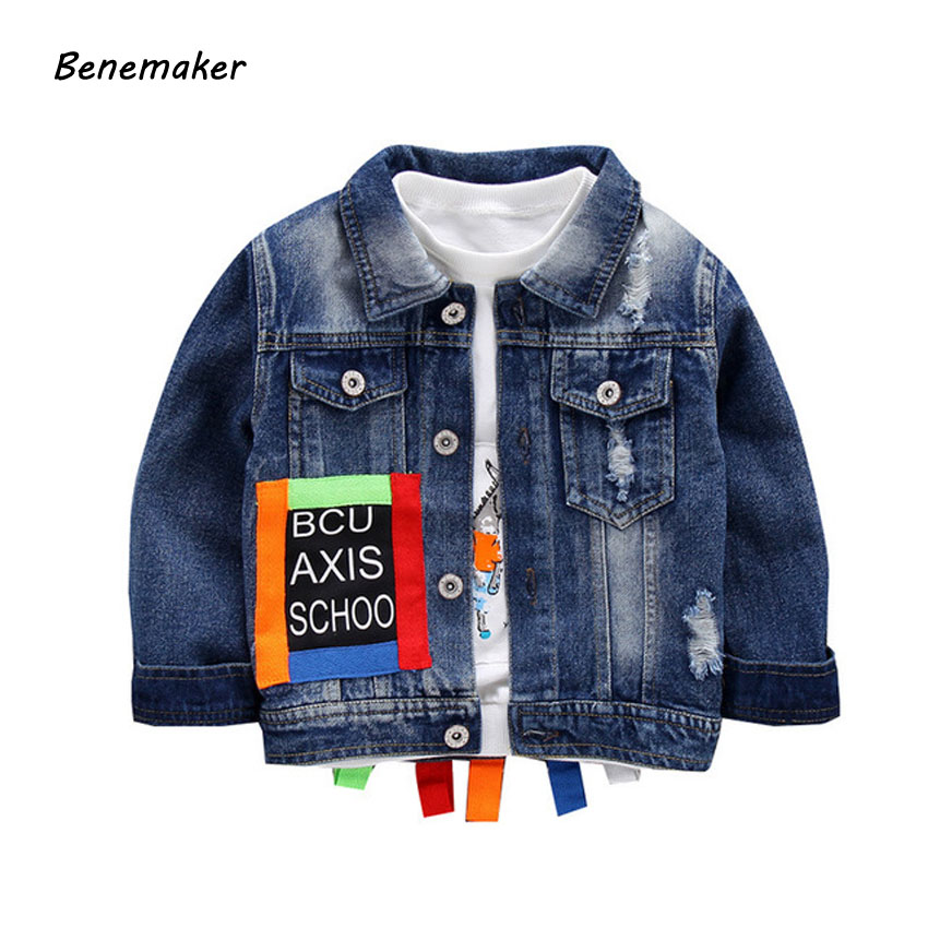 Benemaker Children Ripped Denim Jackets For Boys Girls Autumn Clothing Fashion Outerwear Windbreaker Baby Kids Jeans Coats JH132