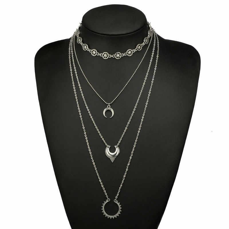 Богемное многослойное ожерелье с подвеской в виде рога, зубчатые колеса, индивидуальное серебряное ожерелье на цепочке для женщин, вечерние, подарок