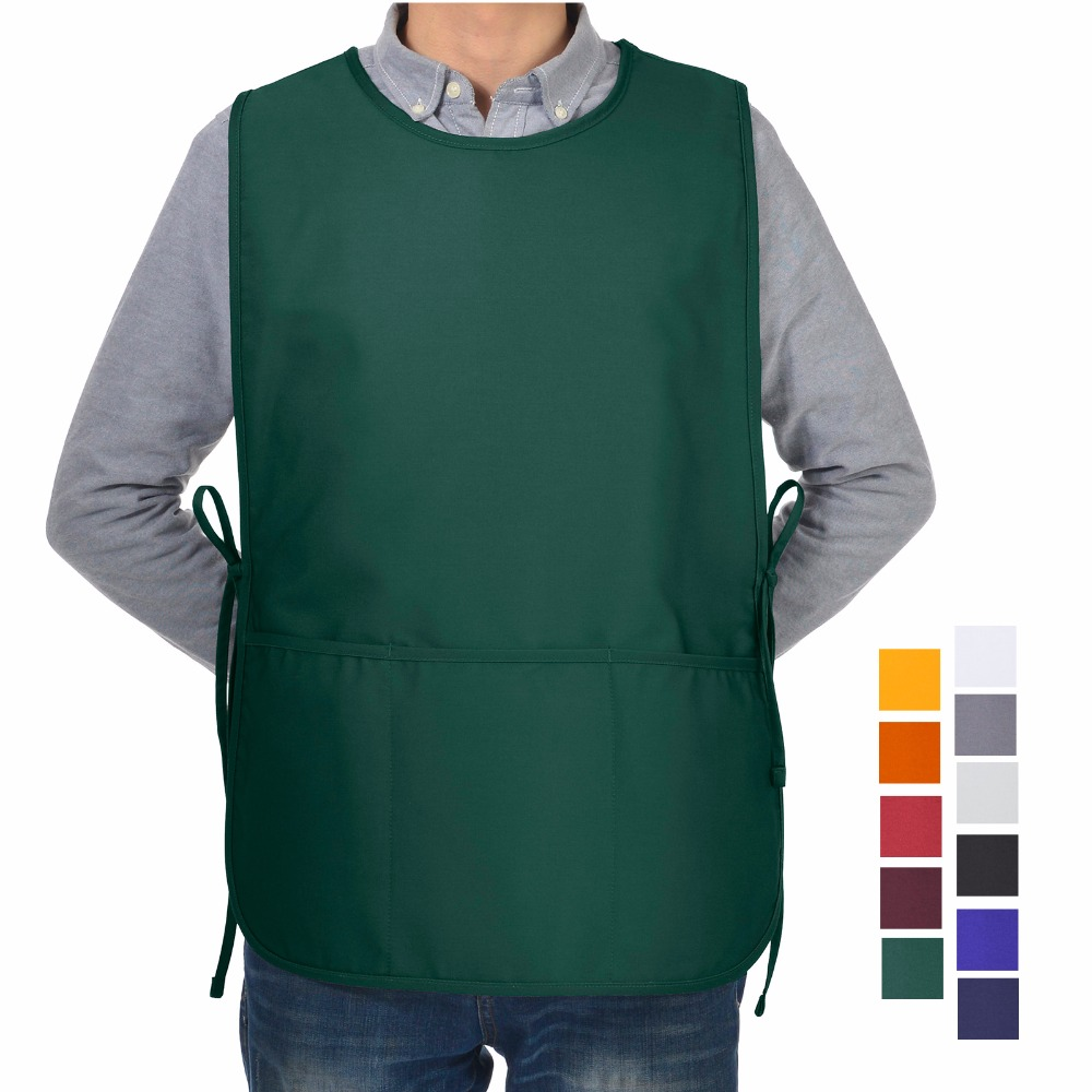 VEEYOO Cobbler Smock Apron Poly Cotton 3 Pockets Commercial ...