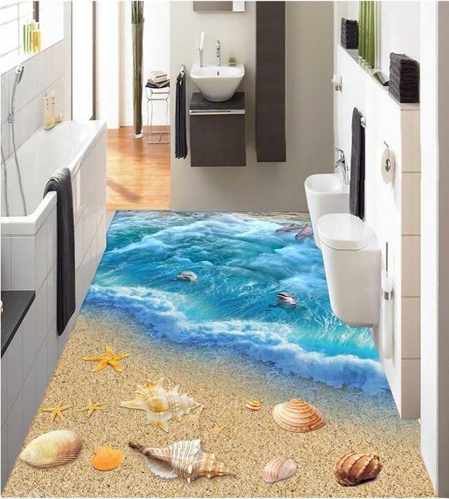 3 D PVC Flooring Custom 3d Bathroom Flooring Wall Paper 3 D World Ocean  Floor Tile