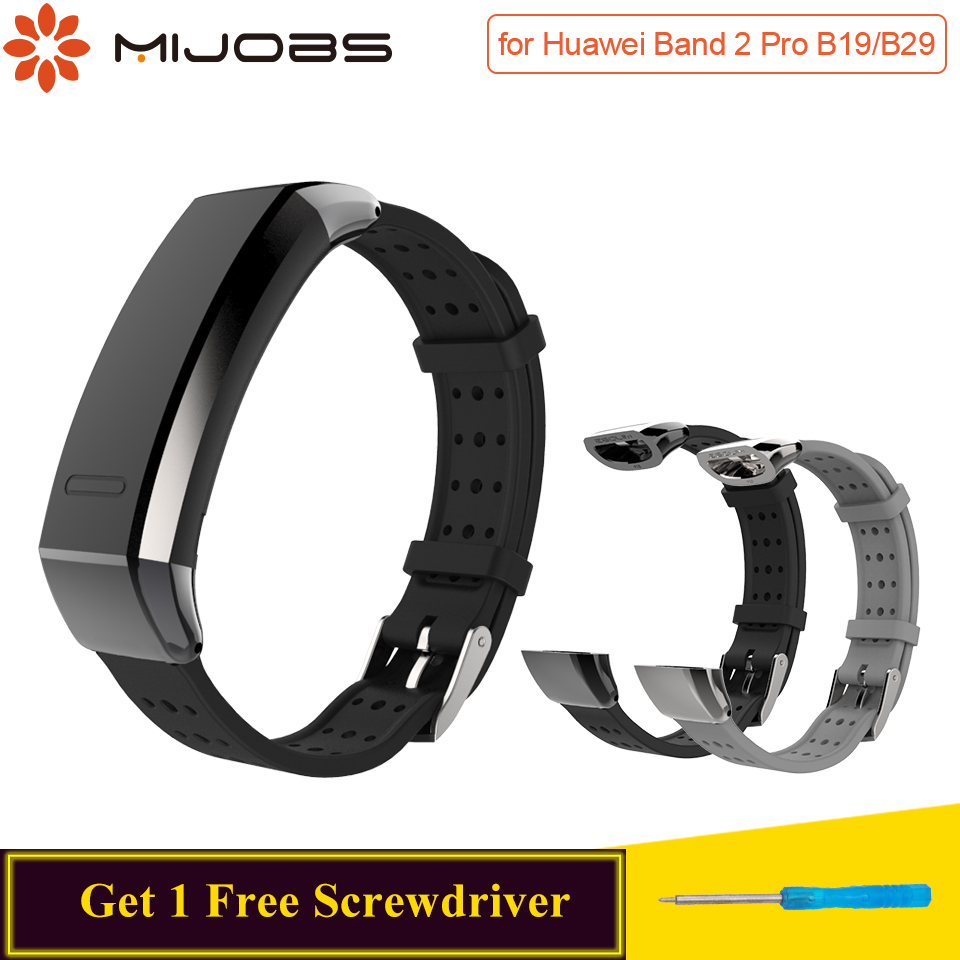 Mijobs Silicone Strap For Huawei Band 2 Pro B19 B29 Wristband Smartwatch Band Replace For Huawei Sport Band 2 Pro Strap Bracelet