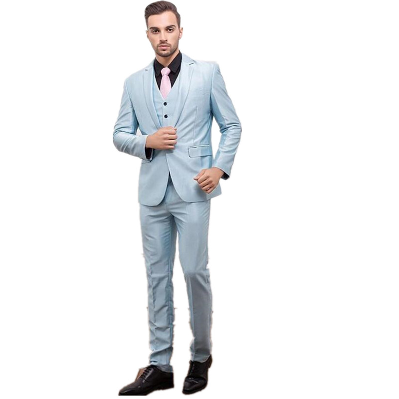 Costume font b Men s b font font b suits b font One Button Light Blue