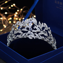 SLBRIDAL Vintage Prong Setting Clear Cubic Zircon Wedding Tiara CZ Bridal Queen Princess Pageant Royal Party Crown Women Jewelry