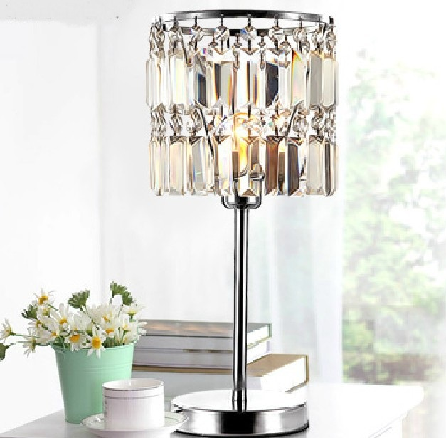New Modern Fashion Crystal Study Dinning Room lighting table lights Table Lamp Desk Decorate Light For SJ139 new modern 3 lights crystal drum black white shade round light chandelier lamp chrome hanging lighting for dinning room pl440