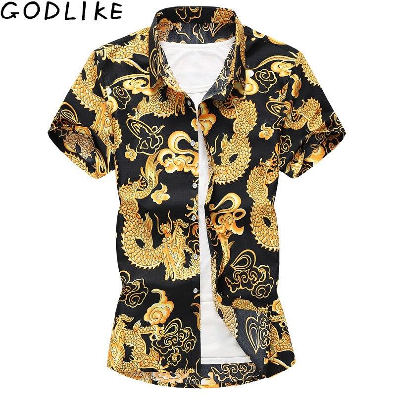 Camisa de impressão padrão de verão barroco magro ajuste festa clube camisa masculina masculina camisa de manga curta plus size 6xl 7xl