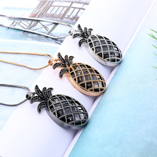 Big Glass Black Crystal Pineapple Pendant Necklace For Women Gold Silver Long Sweater Fashion Jewelry 2019 New Trendy