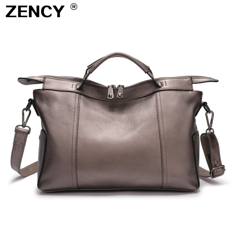 ZENCY 100 Genuine Cow Leather 2019 Women s Handle Bags Ladies Shopping Large Casual Handbags Nature