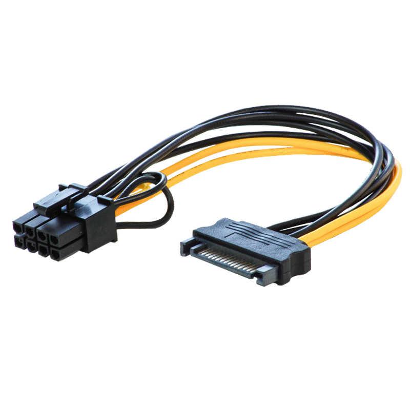YENI Tek SATA 15pin ila 8pin (6 + 2) güç Adaptörü Kablosu 20 cm PCI-E SATA Güç Kaynağı 15-pin 8 pin kablo BTC Madenci Madencilik