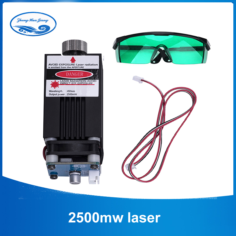 2500mw 450NM focusing blue purple laser module wood engraving,pwm TTL control laser tube diode+ goggles 5w laser module ttl mini laser engraving machine 445nm 450nm blue laser head with adapter free goggles