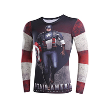 3D t-shirts digital printing compressed t-shirts men long sleeve Superman Deadpool iron Man captain America 3 model