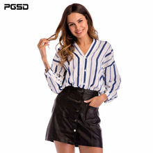 PGSD Spring Deep V collar Stripe Irregular hem raglan sleeve Loose big size Single breasted Fashion women clothes shirt female white stripe shirt with irregular hem