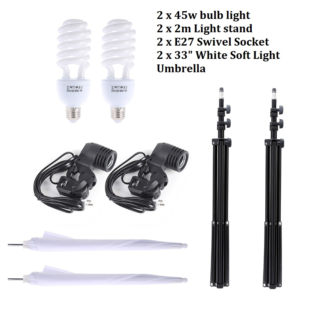 Photo Studio Lighting Kit With 2m Light Stand+2pcs 33 White Soft Light Umbrella +2 pcs 45W Light Bulb Swivel Light Socket diy ceramic h4 socket bulb connector orange white 2 pcs
