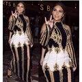 EXCELENTE CALIDAD de París Moda 2017 Runway Designer Vestido de Kim Kardashian de la Mujer de Lujo Mano Trabajo Rebordear Vestido Largo Maxi