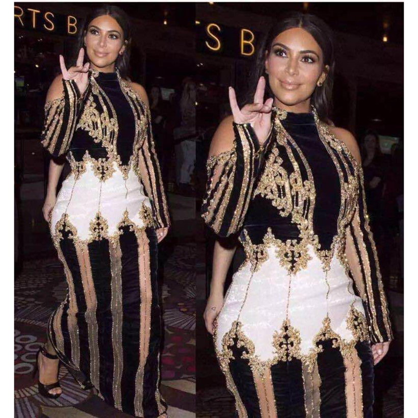 Högkvalitativ Paris Fashion 2018 Designer Runway Dress Kim Kardashian Kvinnors Lyxig Hand Work Beading Maxi Long Dress
