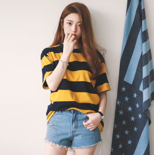 Summer Girls Yellow and Black Wide Stripe O- Neck Short Sleeve Casual Loose Tops Women   T     Shirts   Plus Size
