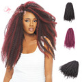 18inch Afro Kinky Twist Braids Loop Black Ombre Color Braid Curly Synthetic Crochet braid hair extensions for Black Women