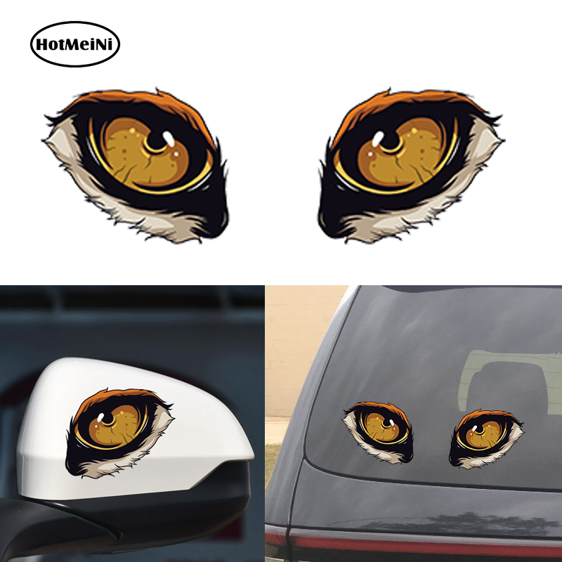 HotMeiNi Pair 3D Funny Wolf Cat Eyes Car Stickers Truck Head Engine Rearview Mirror Window Cover Door Decal Graphics 10x8cm elegant cat mirror cat bovine anti theft door aw4620c 02 copper luxury carved cat