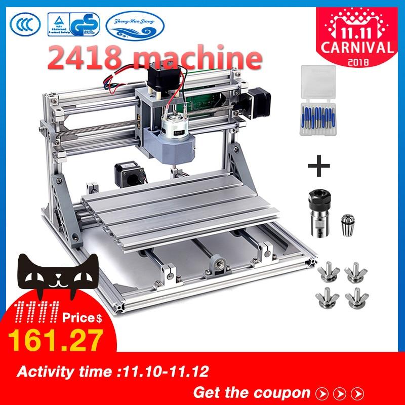 CNC 2418 avec ER11, diy mini cnc laser machine de gravure, Pcb Fraiseuse, Sculpture Sur Bois routeur, cnc2418, meilleur Avancée jouets