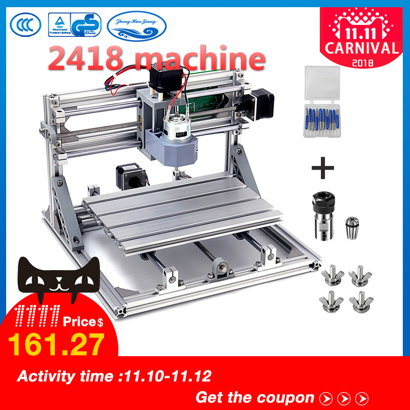 CNC 2418 with ER11,diy mini cnc laser engraving machine,Pcb Milling Machine,Wood Carving router,cnc2418, best Advanced toys cnc engraver 2418 mini diy pcb router metal laser marking machine